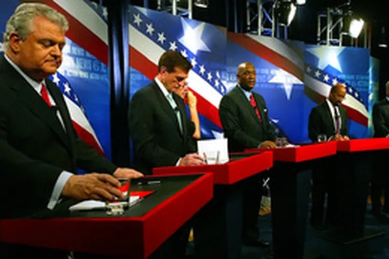 The Democratic candidates for mayor - (from left) Brady, Knox, Evans, Nutter and Fattah - prepare for last night's debate.
