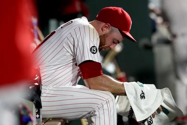 Sam Coonrod of the Phillies after allowing two runs in the seventh inning against the Cubs on Tuesday night.