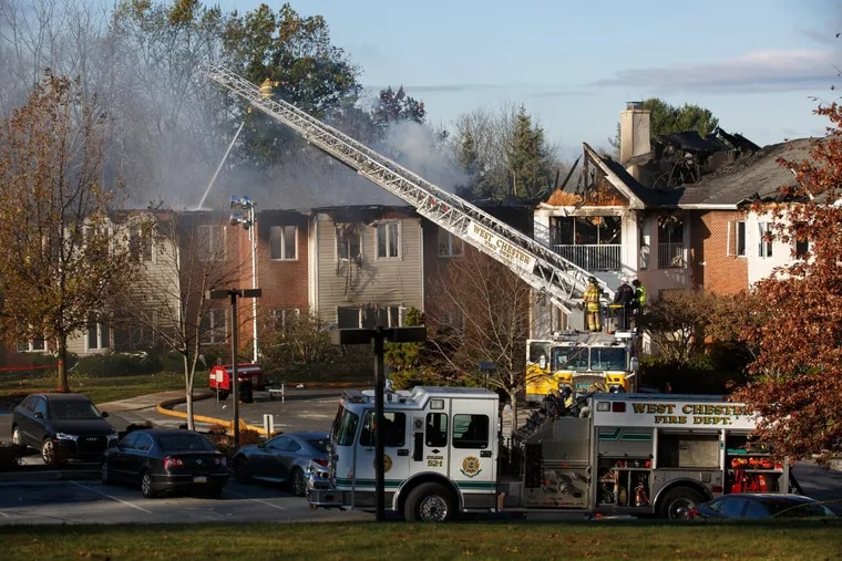 Fireman work on a fire that broke out Thursday night at Barclay Friends on North Franklin Street in West Chester. At least 27 people were injured in the multi-alarm fire at this senior living community.
