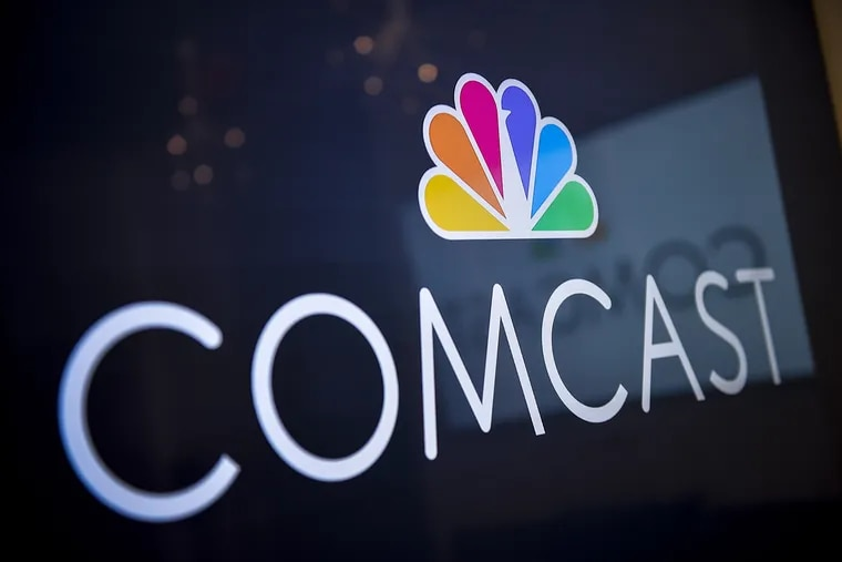 The Comcast logo inside company headquarters in Philadelphia on Oct. 24, 2016. Comcast Corp. and ViacomCBS Inc. have joined forces to launch a new streaming service in Europe, the two companies said Wednesday. Bloomberg photo by Charles Mostoller.