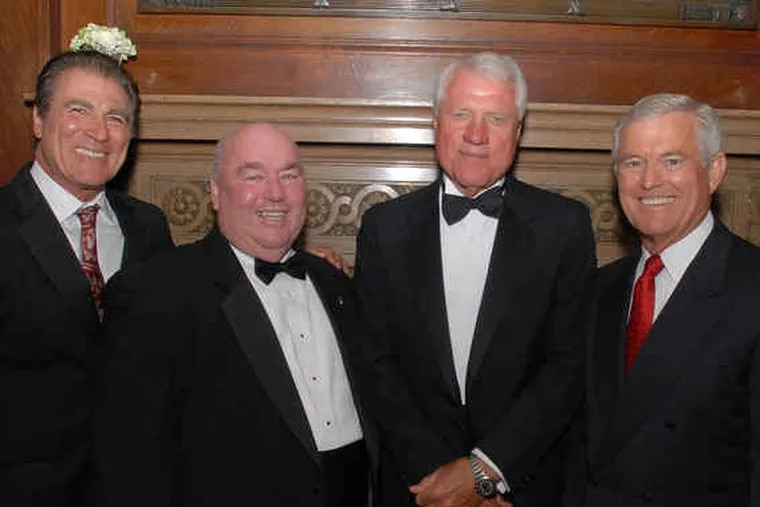 Among attendees were, from left, former Eagle Vince Papale, board member Jim Murray, Eagles Fly for Leukemia cofounder Fred Hill, and former Eagles head coach Dick Vermeil.