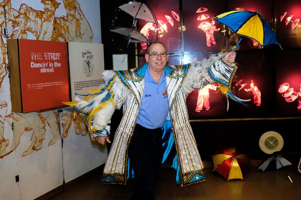 Parading through the feathered, bedazzled Mummers Museum collection