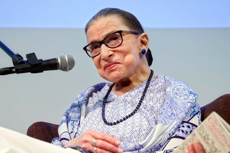 """In this July 5, 2018 file photo, U.S. Supreme Court Justice Ruth Bader Ginsburg speaks after the screening of """"RBG,"""" the documentary about her, in Jerusalem."""