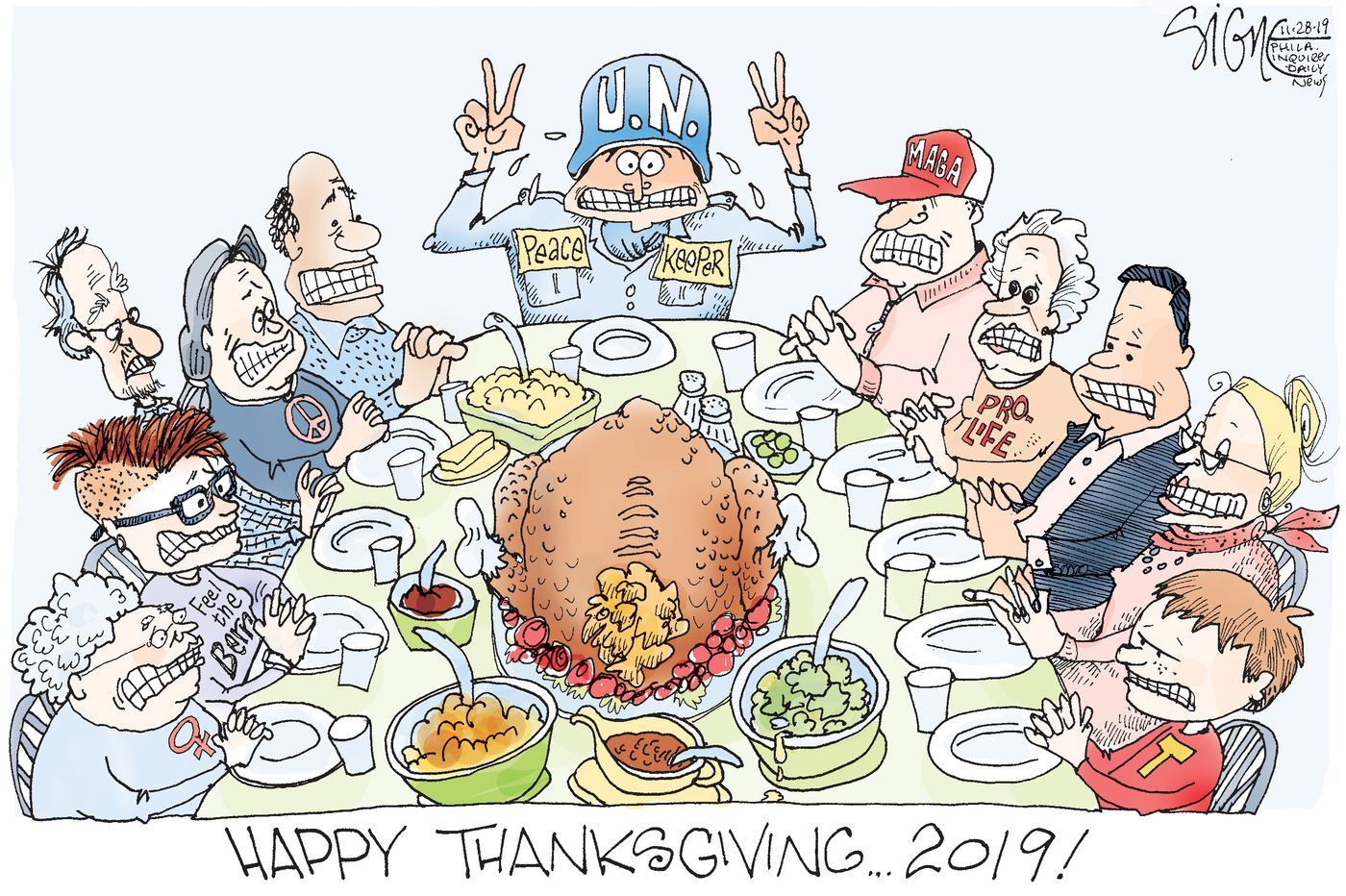 Political Cartoon: Thanksgiving peacekeepers