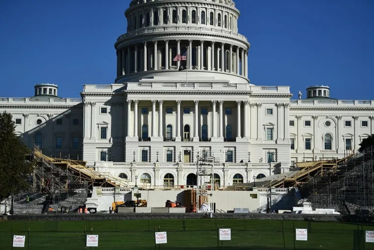 The presidential inaugural platform is under construction in front of the US Capitol as part of the West Front lawn is closed to the public November 9, 2020 on Capitol Hill in Washington, DC.