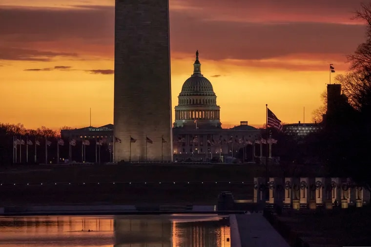 The Capitol and Washington Monument as the partial government shutdown lurches into a third week with President Donald Trump standing firm in his border wall funding demands.