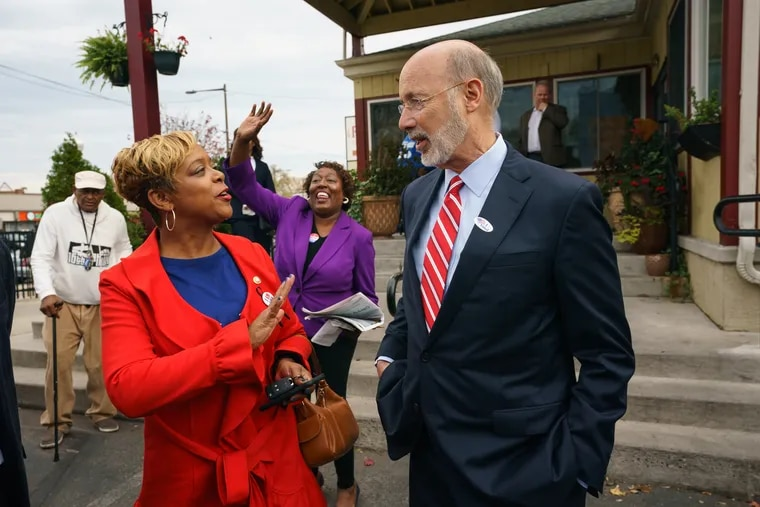 Councilwoman Cindy Bass, left, Governor Tom Wolf, right, and Tracey Gordon, now the Register of Wills-elect at Relish on Election Day.