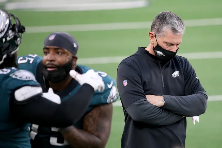 Jim Schwartz, shown after a second-quarter Dallas touchdown, couldn't come up with a way to mask the Eagles' deficiencies Sunday, or for much of the season.