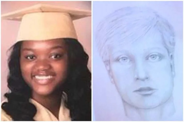 Bianca Roberson, 18, and a sketch of the man police say killed her in a Chester County road-rage incident.