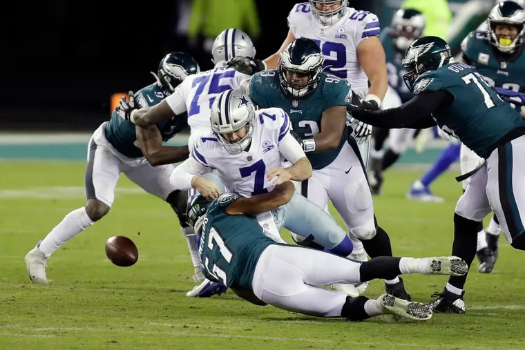 Dallas Cowboys quarterback Ben DiNucci fumbles during the fourth quarter at Lincoln Financial Field in Philadelphia, Pa. on November 1, 2020.
