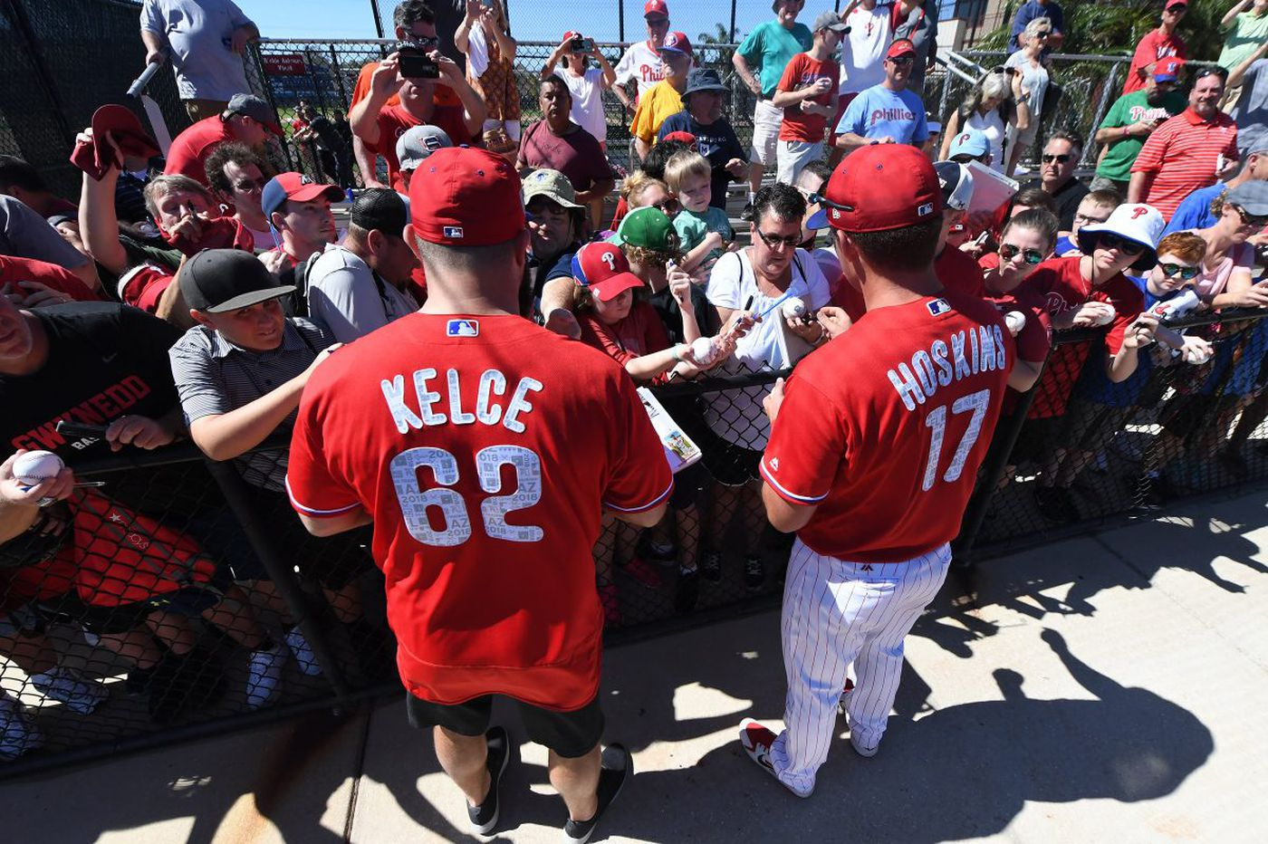 Jason Kelce's visit highlights Phillies' unusual first day