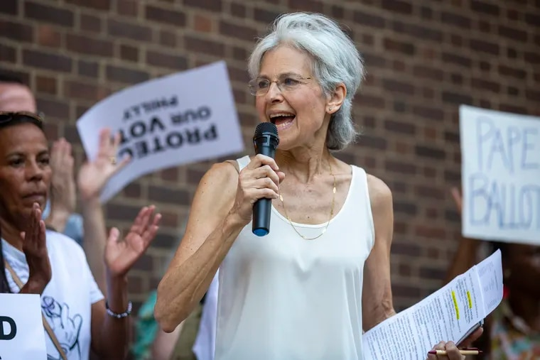 Jill Stein, the Green Party's candidate in 2016, at a rally threatening legal action over Philly's voting machines last year.