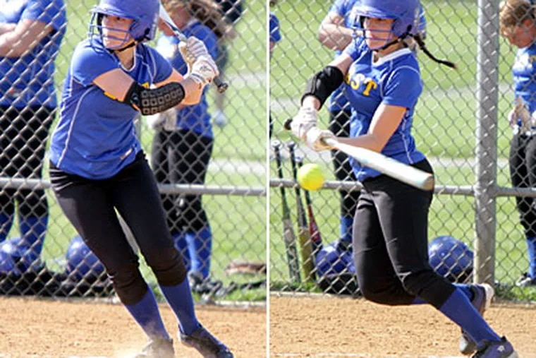 Downingtown East's Kristen Owens slap-bunts during a game against Downingtown West. (Lou Rabito/Staff)