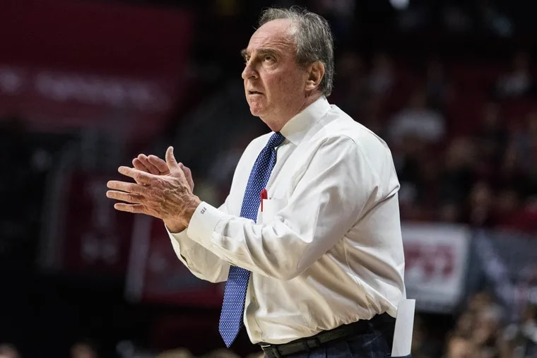 Temple head coach Fran Dunphy claps after a play was made during the second half of Temple's 75-56 win over UCF at The Liacouras Center on Sunday, February 25, 2018. SYDNEY SCHAEFER / Staff Photographer