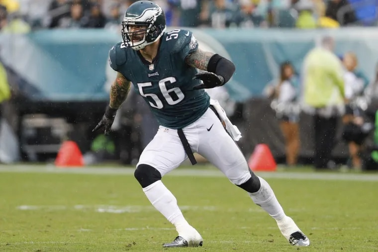 Philadelphia Eagles defensive end Chris Long in action during an NFL football game against the San Francisco 49ers, Sunday, Oct. 29, 2017, in Philadelphia.