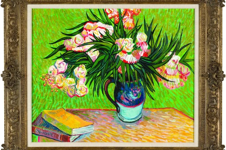 John Myatt's copy of Oleanders, after Vincent Van Gogh, 2012. Mixed media on canvas. Courtesy of Washington Green Fine Art.