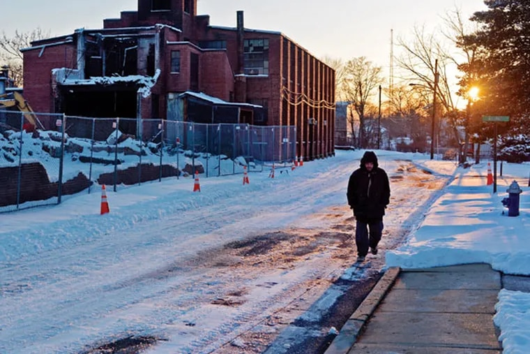 Wesley Gauntt, 45, makes his way to the Extended Hand Ministries shelter in Mount Holly at dinnertime Feb. 17, 2015. He has been homeless about a year, and eats there frequently, staying overnight, usually only when temperatures force a Code Blue.