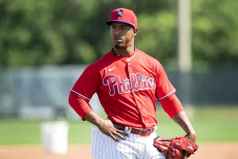 Phillies infielder Jean Segura looks on during a spring-training practice Monday in Clearwater, Fla.