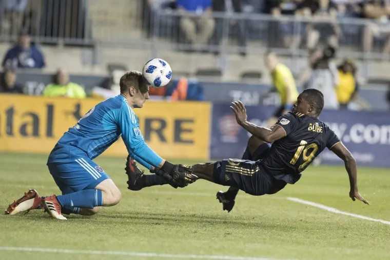 Cory Burke scored his second goal in as many starts (though not on this play) in the Philadelphia Union's 3-1 win over the Chicago Fire.