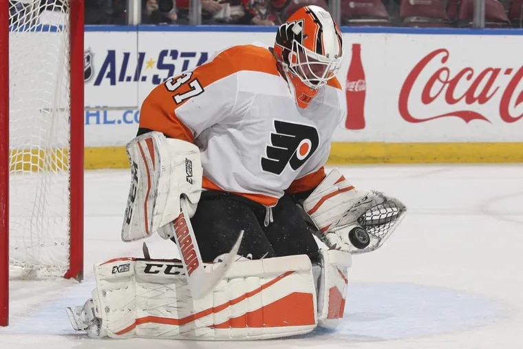Flyers' goalie Brian Elliott during the team's 3-2 loss to the Panthers on Thursday.