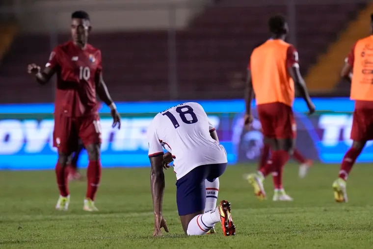 Former Union defender Mark McKenzie, center, reacts after the U.S. men's soccer team's loss in Panama on Sunday.