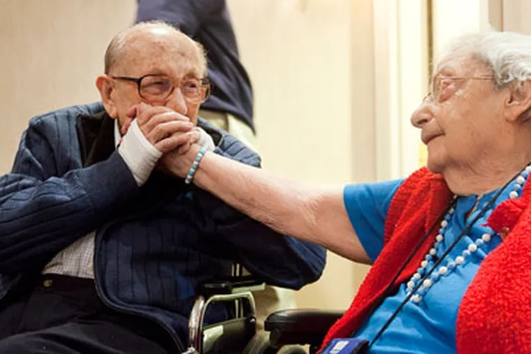 Twins Alfred Pick (left) and sister Ruth Tengood celebrate their 100th birthday at a party on  Saturday, Dec. 1, 2012.  The twins escaped Nazi Germany for London and Shanghai before settling in Philadelphia. They arrived at different times after the war in the  late '40s. Their birthday is actually Dec. 3. ( RYAN S. GREENBERG / Staff Photographer )