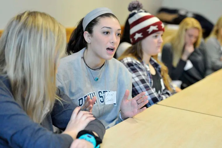 Penn State student Ariel Shafir talks during a McClatchy Newspapers focus group on presidential politics at Pennsylvania State University in University Park, Pa.