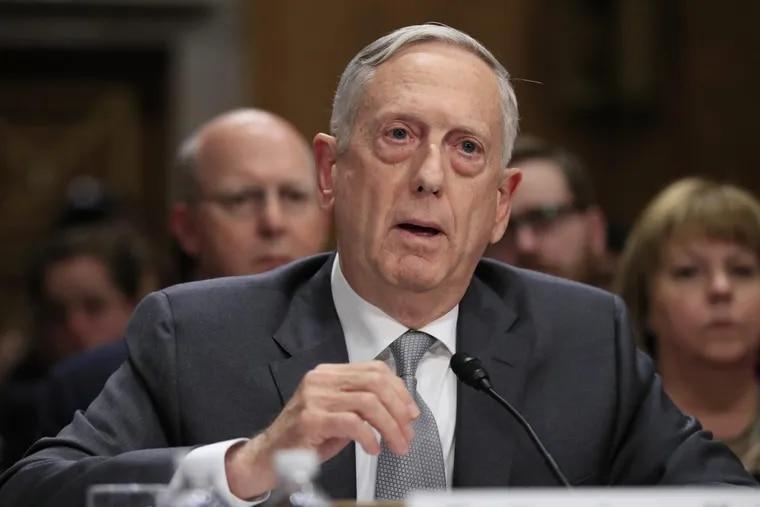 Secretary of Defense Jim Mattis testifies during a recent Senate Foreign Relations Committee hearing.