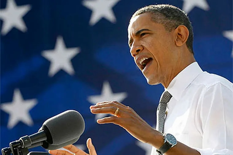 President Obama , shown speaking Wednesday in Washington, is expected in Delaware County tomorrow.