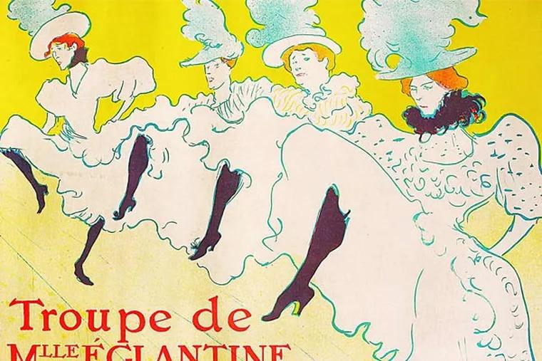 """Henri de Toulouse-Lautrec, """"Mlle. Eglantine's Troupe,"""" color litho- graph, 1896. The works capture the raucous spirit of Parisian nightlife."""
