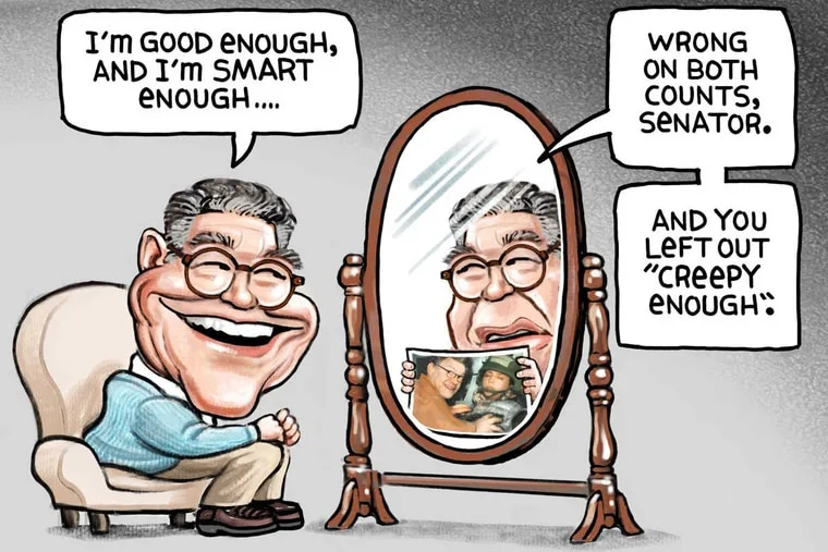 Al Franken depicted in a political cartoon published in the Minneapolis Star-Tribune.