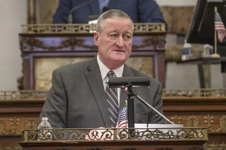 Philadelphia Mayor Jim Kenney, shown at his annual budget address recently, has proposed or enacted spending increases totalling 17 percent since taking office.