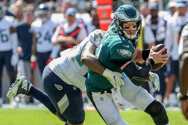 Offensive line can't protect Carson Wentz, allows four more sacks in loss to Titans