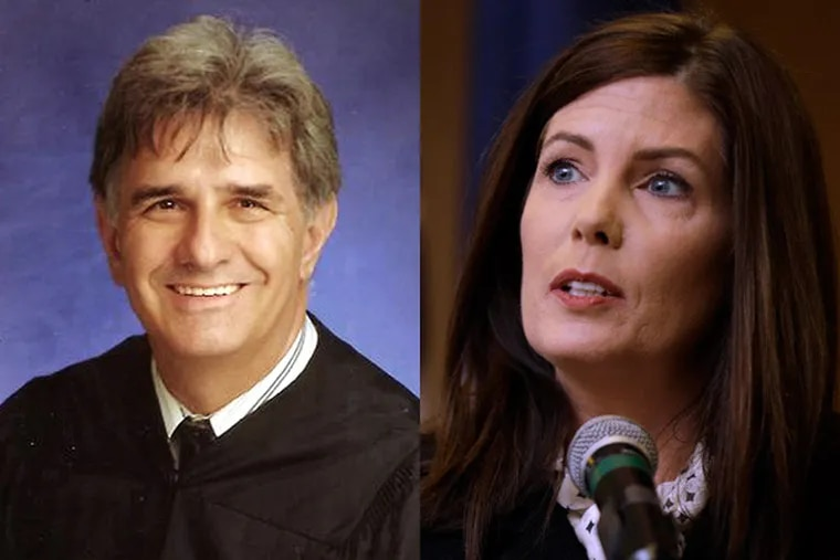 Judge Barry Feudale and Attorney General Kathleen Kane.