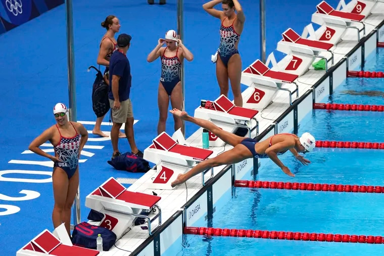 United States women's swimmers at practice Thursday at the Olympics swimming venue.
