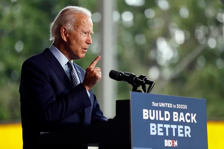Joe Biden speaking at McGregor Industries in Dunmore, Pa., on Thursday.