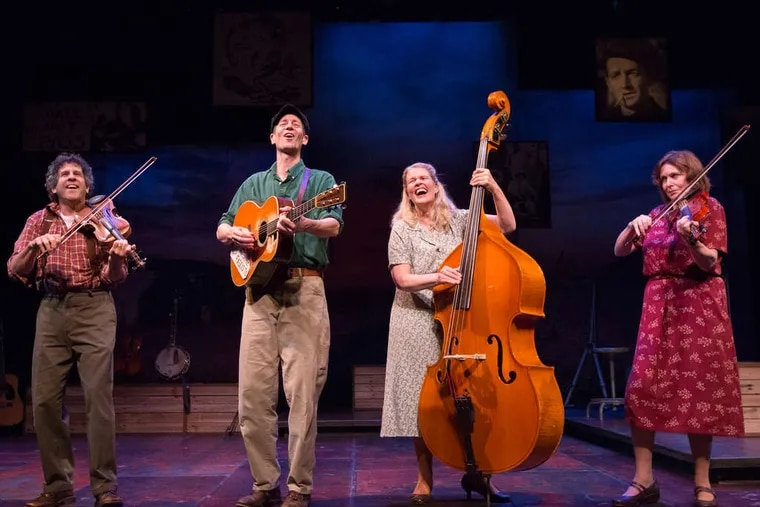 """The cast of """"Woody Sez: The Life and Music of Woody Guthrie"""" at the People's Light & Theatre Company: (from left) Andy Teirstein, David M. Lutken, Helen Russell, and Darcie Deaville."""