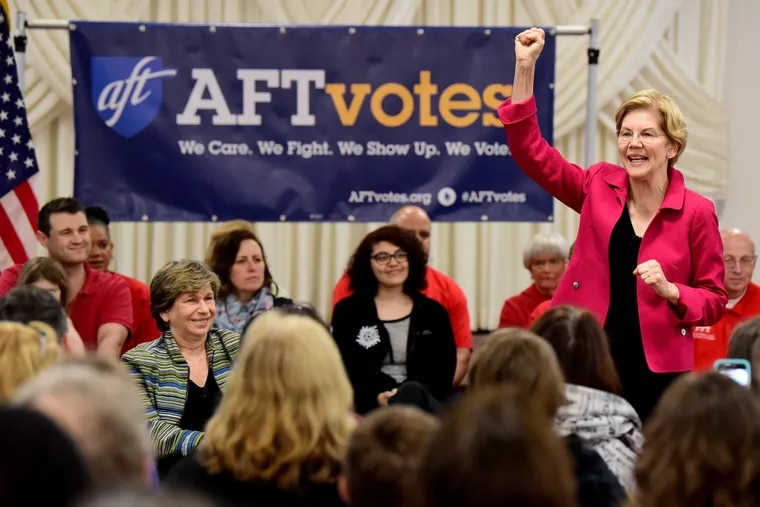 Democratic presidential candidate Sen. Elizabeth Warren addresses members of the American Federation of Teachers, at the Plumbers Local 690 Union Hall in Northeast Philadelphia May 13, 2019.