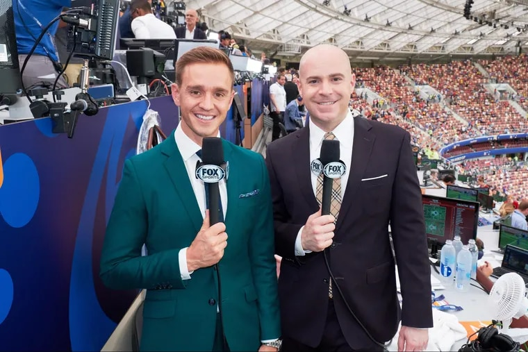 Stuart Holden (left) with John Strong in Fox Sports' booth at this summer's men's World Cup in Russia.