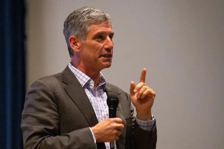 Daniel Greenstein, chancellor of the Pennsylvania State System of Higher Education, addresses a crowd of students, faculty and alumni at Cheyney University in April 2019.