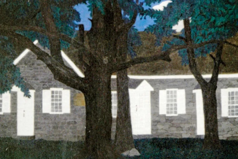 Horace Pippin (1888-1946), Birmingham Meeting House lll, 1941, oil on fabric, 16 x 20 in., Brandywine River Museum of Art, Chadds Ford, Pennsylvania, Museum Volunteers' Art  Purchase Fund and other funds, 2011