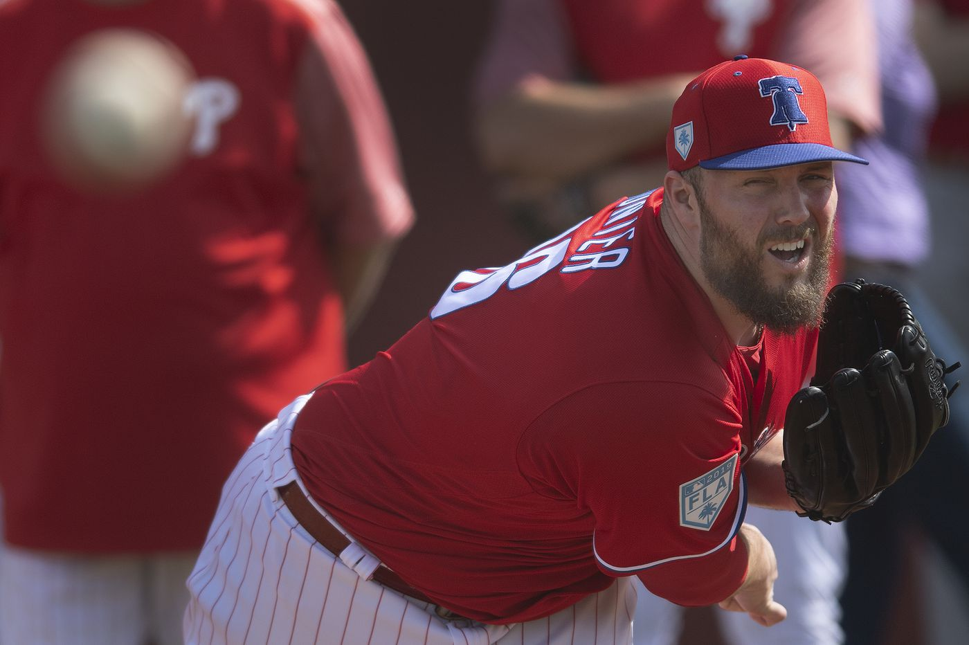 Phillies relief pitcher Tommy Hunter out with a flexor strain