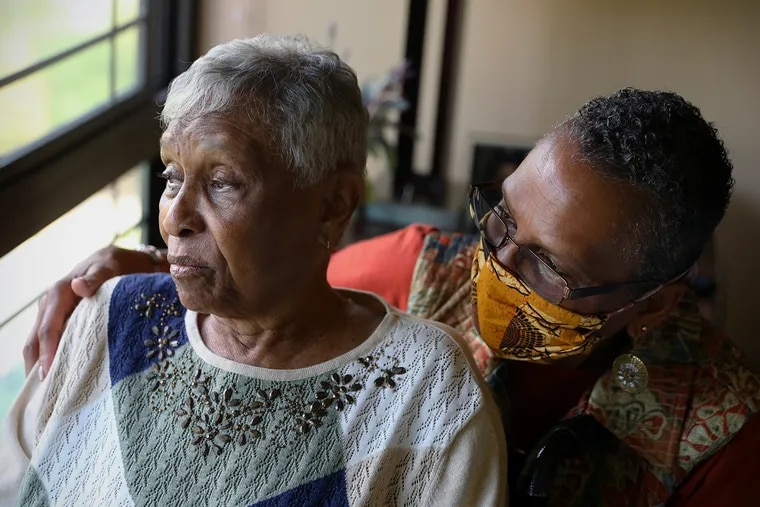Kim Boddy (right) can now visit her mother, Marguerite Forbes, 90, every day at Rydal Park in Jenkintown.  Boddy said that her mother, who has Alzheimer's disease, declined during the pandemic.