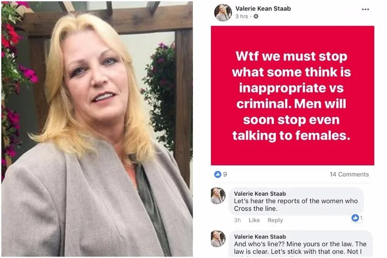 Valerie Kean Staab, a onetime senior adviser to the head of Pennsylvania's Democratic party, resigns over controversial Facebook comments on sexual harassment.