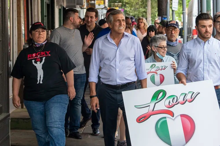 Pennsylvania Republican gubernatorial candidate Lou Barletta, an ex-congressman and close ally of former President Donald Trump, campaigns in the Italian Market in South Philadelphia on May 25.