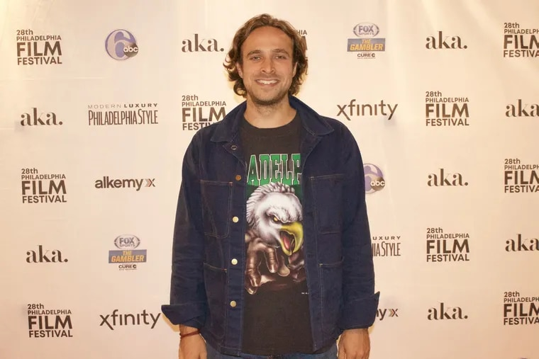 The composer Jackson Greenberg at the hometown premiere of Maybe Next Year, the documentary about the the the Philadelphia Eagles Super Bowl-winning season. Greenberg, who grew up in Philly and Gladwyne and now lives and works in LA, wrote the film's score.
