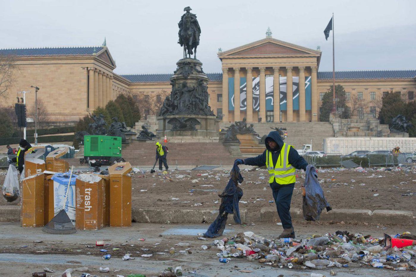 Eagles parade clean up still underway