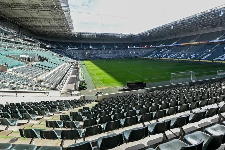 Empty seats at the stadium of German Bundesliga soccer club Borussia Mönchengladbach, whose roster includes former U.S. national team player Fabian Johnson.