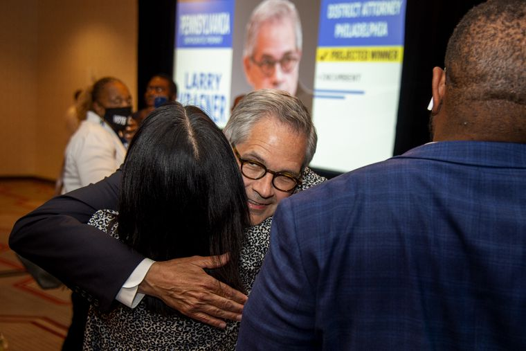 District Attorney Larry Krasner embraces City Councilmember Helen Gym as he arrives to make his victory speech on Tuesday.
