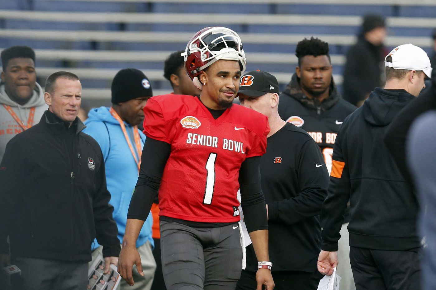 What Senior Bowl speed-tracking tells us about Eagles draft pick Jalen Hurts' arm strength, K'Von Wallace's athleticism